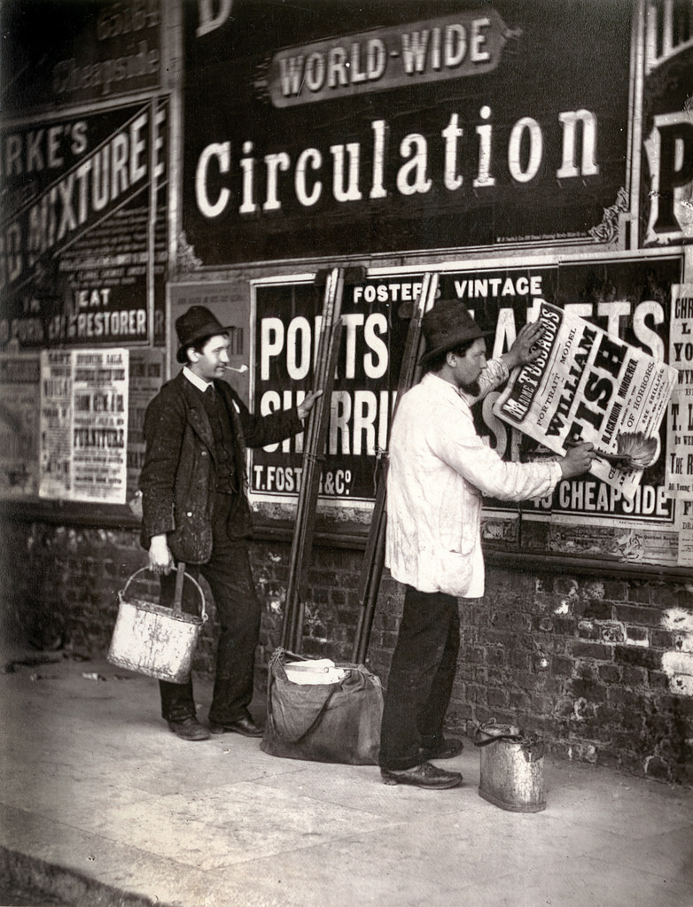 "Street Advertisers as shown in ""Street Life in London"" published in 1877 by John Thomson and Adolphe Smith."
