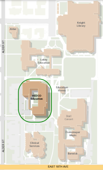 Map of the UO Campus with HEDCO Highlighted